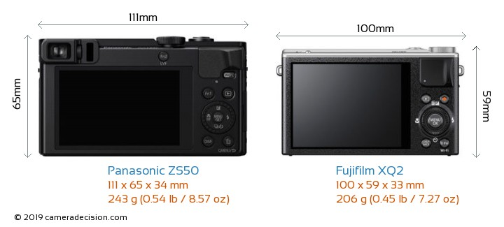 Panasonic ZS50 vs Fujifilm XQ2 Camera Size Comparison - Back View