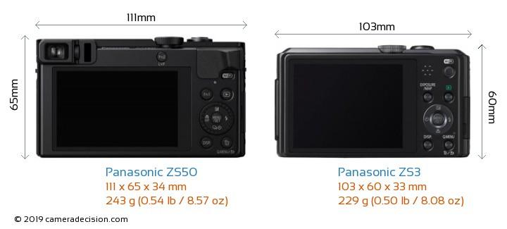 Panasonic ZS50 vs Panasonic ZS3 Camera Size Comparison - Back View