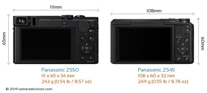 Panasonic ZS50 vs Panasonic ZS45 Camera Size Comparison - Back View