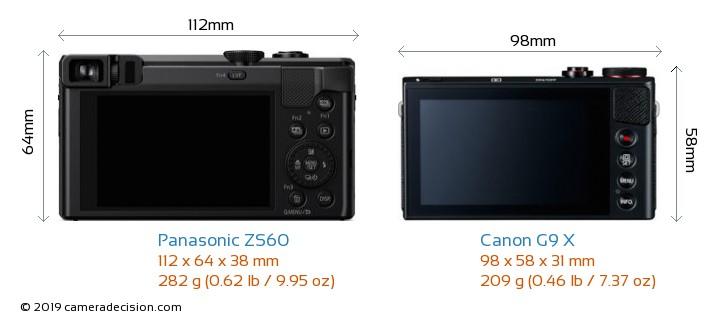 Panasonic ZS60 vs Canon G9 X Camera Size Comparison - Back View