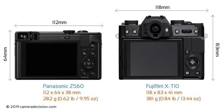 Panasonic ZS60 vs Fujifilm X-T10 Camera Size Comparison - Back View