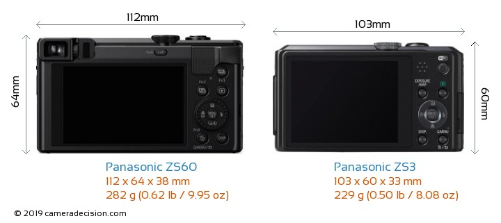 Panasonic ZS60 vs Panasonic ZS3 Camera Size Comparison - Back View