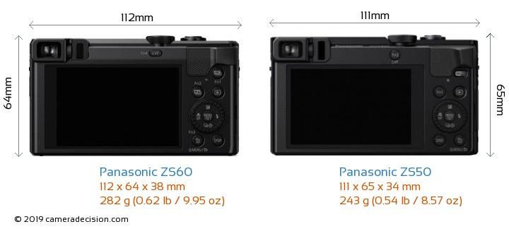 Panasonic ZS60 vs Panasonic ZS50 Camera Size Comparison - Back View