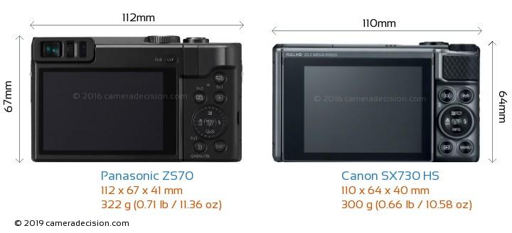 Panasonic ZS70 vs Canon SX730 HS Camera Size Comparison - Back View