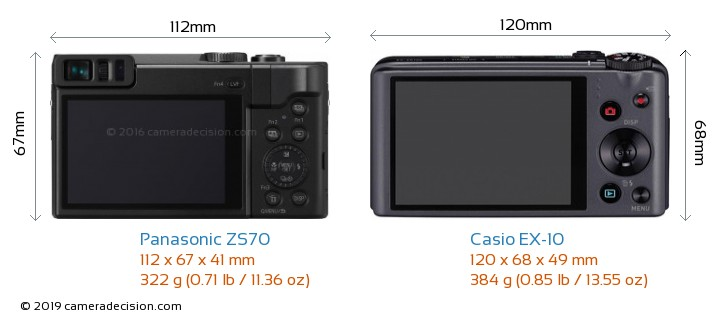 Panasonic ZS70 vs Casio EX-10 Camera Size Comparison - Back View