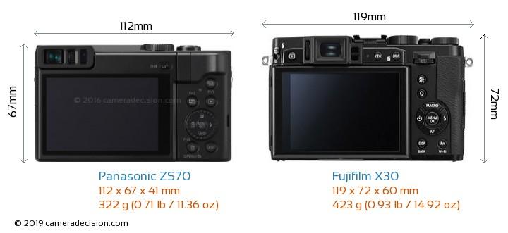 Panasonic ZS70 vs Fujifilm X30 Camera Size Comparison - Back View