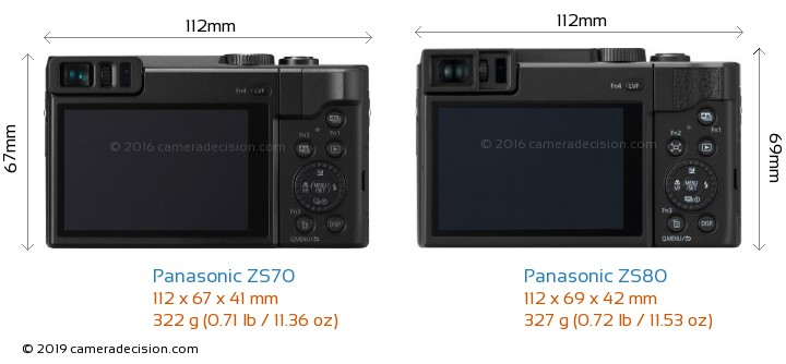 Panasonic ZS70 vs Panasonic ZS80 Camera Size Comparison - Back View