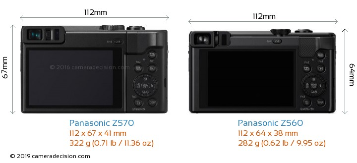Panasonic ZS70 vs Panasonic ZS60 Camera Size Comparison - Back View