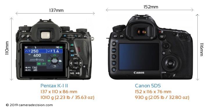 Pentax K-1 II vs Canon 5DS Camera Size Comparison - Back View