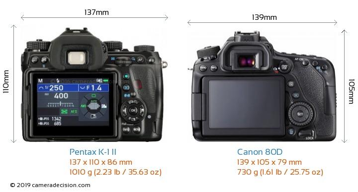 Pentax K-1 II vs Canon 80D Camera Size Comparison - Back View