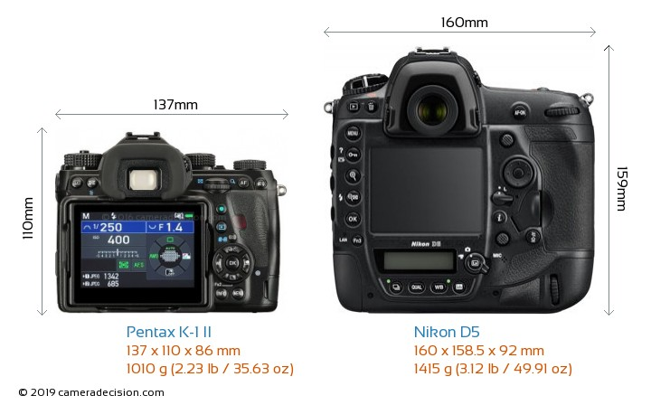 Pentax K-1 II vs Nikon D5 Camera Size Comparison - Back View