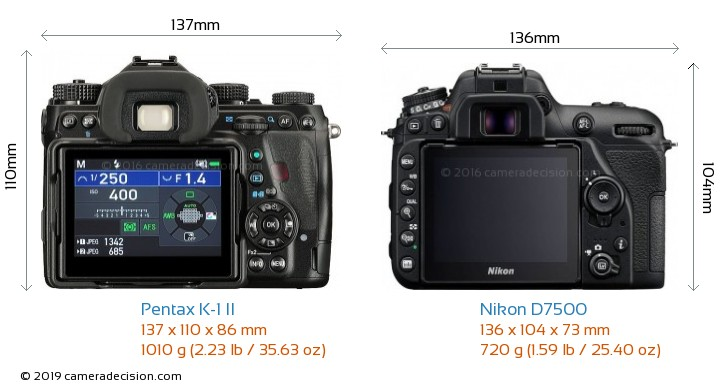 Pentax K-1 II vs Nikon D7500 Camera Size Comparison - Back View