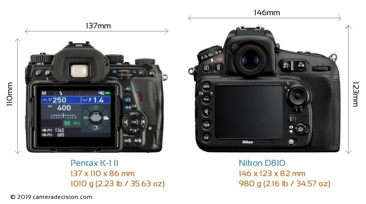 Pentax K-1 II vs Nikon D810 Camera Size Comparison - Back View