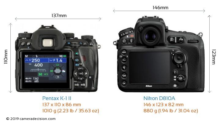 Pentax K-1 II vs Nikon D810A Camera Size Comparison - Back View