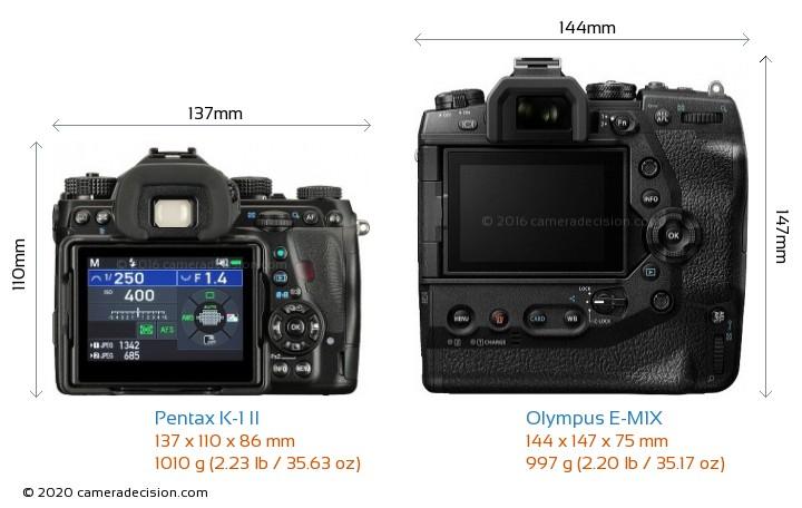 Pentax K-1 II vs Olympus E-M1X Camera Size Comparison - Back View