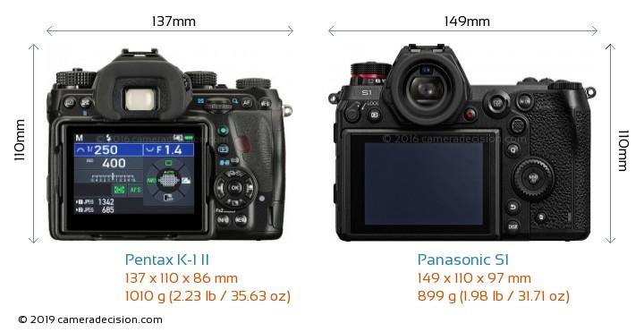 Pentax K-1 II vs Panasonic S1 Camera Size Comparison - Back View