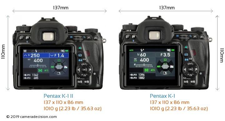 Pentax K-1 II vs Pentax K-1 Camera Size Comparison - Back View