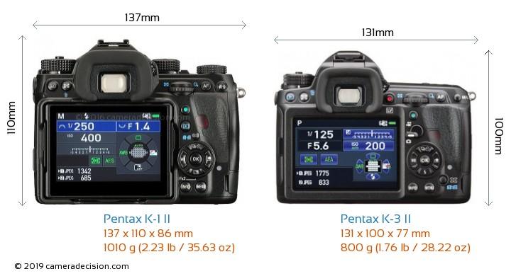Pentax K-1 II vs Pentax K-3 II Camera Size Comparison - Back View
