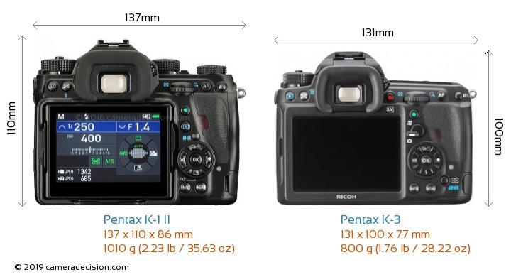 Pentax K-1 II vs Pentax K-3 Camera Size Comparison - Back View