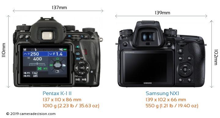 Pentax K-1 II vs Samsung NX1 Camera Size Comparison - Back View
