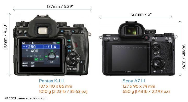 Pentax K-1 II vs Sony A7 III Camera Size Comparison - Back View