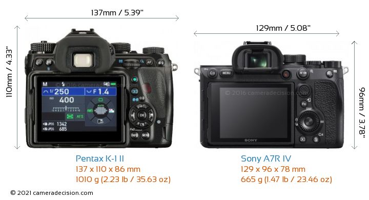 Pentax K-1 II vs Sony A7R IV Camera Size Comparison - Back View