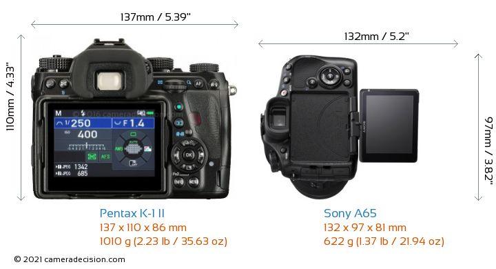 Pentax K-1 II vs Sony A65 Camera Size Comparison - Back View