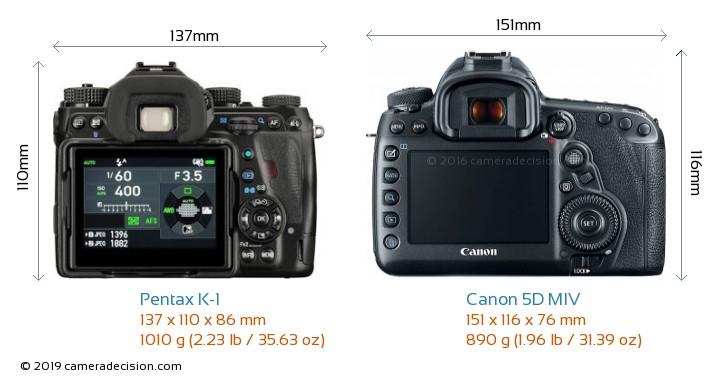 Pentax K-1 vs Canon 5D MIV Camera Size Comparison - Back View