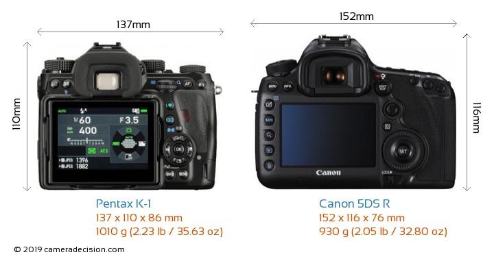 Pentax K-1 vs Canon 5DS R Camera Size Comparison - Back View