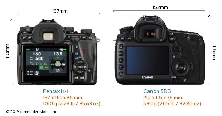 Pentax K-1 vs Canon 5DS Camera Size Comparison - Back View