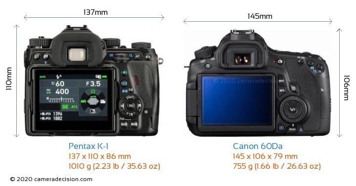 Pentax K-1 vs Canon 60Da Camera Size Comparison - Back View
