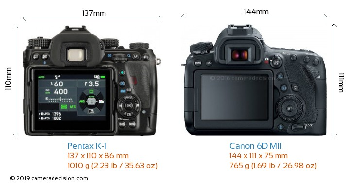 Pentax K-1 vs Canon 6D MII Camera Size Comparison - Back View