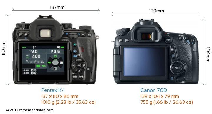 Pentax K-1 vs Canon 70D Camera Size Comparison - Back View