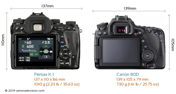 Pentax K-1 vs Canon 80D Camera Size Comparison - Back View