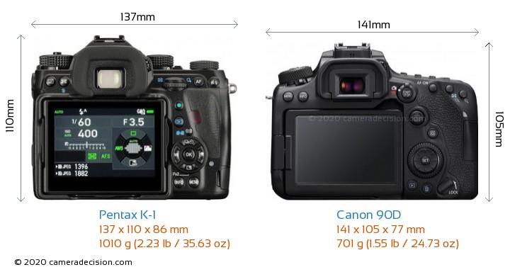 Pentax K-1 vs Canon 90D Camera Size Comparison - Back View