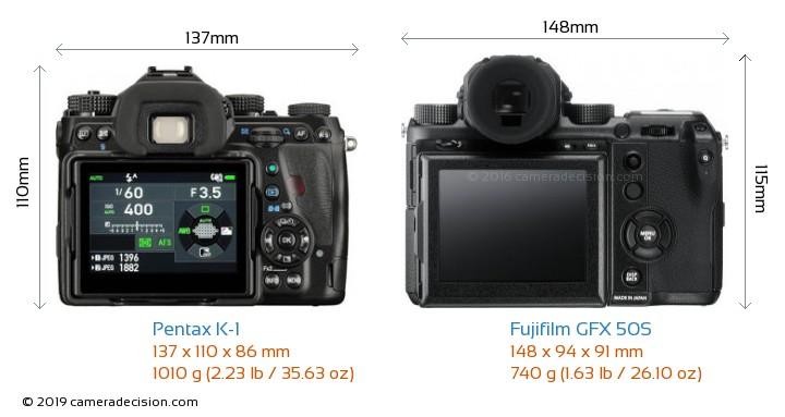 Pentax K-1 vs Fujifilm GFX 50S Camera Size Comparison - Back View
