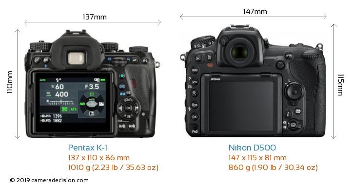Pentax K-1 vs Nikon D500 Camera Size Comparison - Back View