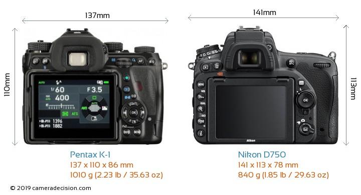 Pentax K-1 vs Nikon D750 Camera Size Comparison - Back View