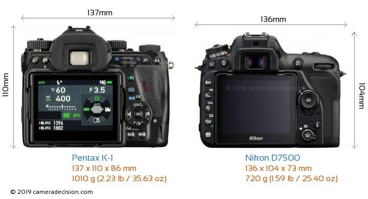 Pentax K-1 vs Nikon D7500 Camera Size Comparison - Back View