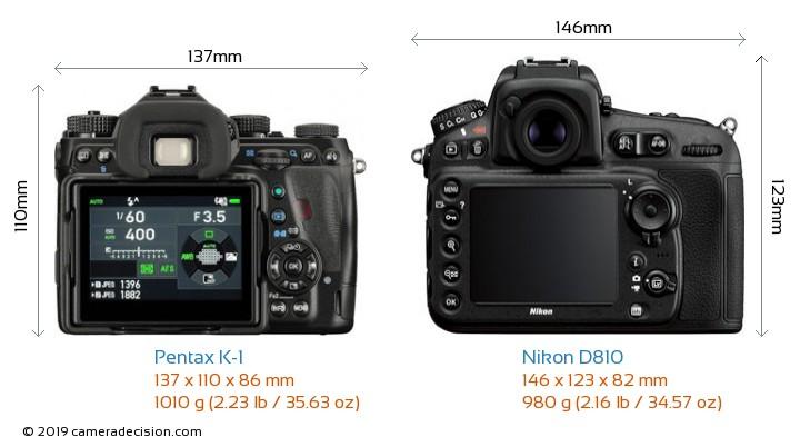 Pentax K-1 vs Nikon D810 Camera Size Comparison - Back View