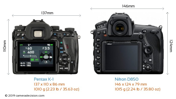 Pentax K-1 vs Nikon D850 Camera Size Comparison - Back View