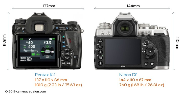 Pentax K-1 vs Nikon Df Camera Size Comparison - Back View