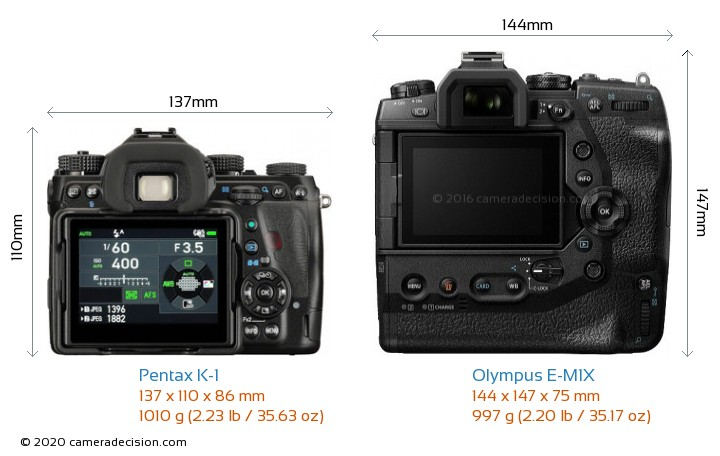 Pentax K-1 vs Olympus E-M1X Camera Size Comparison - Back View