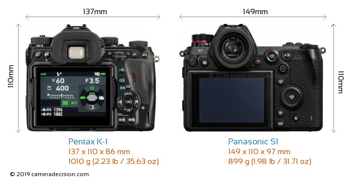 Pentax K-1 vs Panasonic S1 Camera Size Comparison - Back View