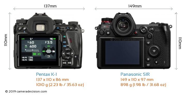 Pentax K-1 vs Panasonic S1R Camera Size Comparison - Back View