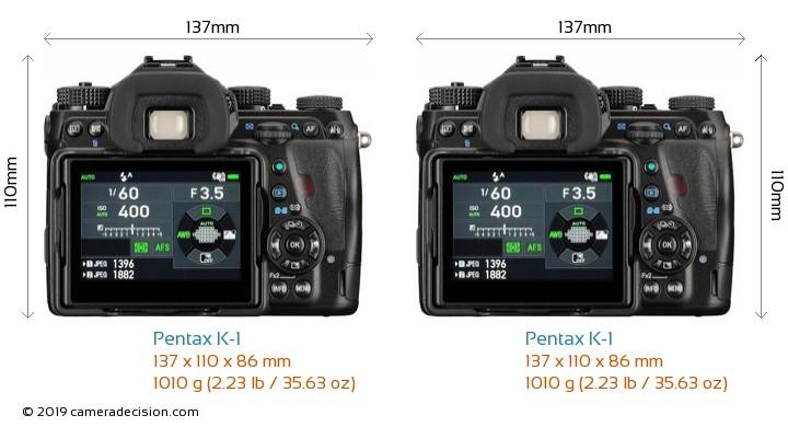 Pentax K-1 vs Pentax K-1 Camera Size Comparison - Back View
