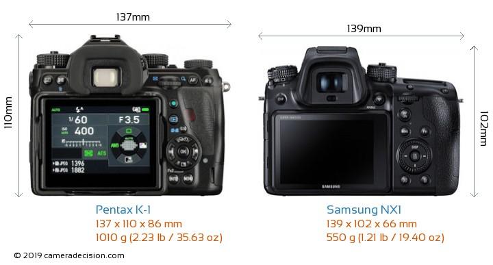 Pentax K-1 vs Samsung NX1 Camera Size Comparison - Back View