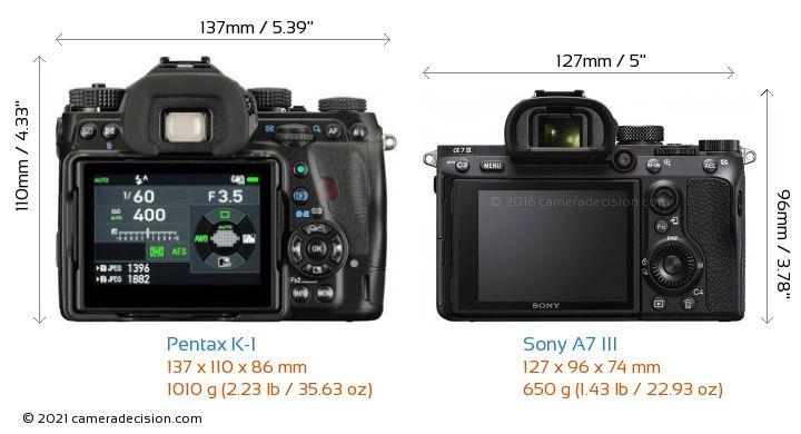 Pentax K-1 vs Sony A7 III Camera Size Comparison - Back View