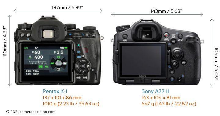 Pentax K-1 vs Sony A77 II Camera Size Comparison - Back View