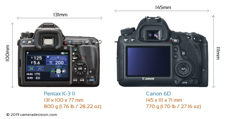 Pentax K-3 II vs Canon 6D Camera Size Comparison - Back View